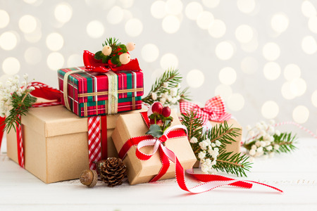 christmas greeting: Different Christmas presents with handmade decoration