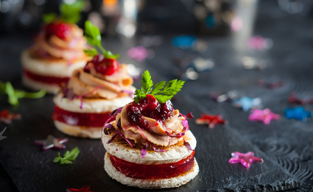 Festive appetizer with foie gras, cranberry chutney and jelly 写真素材