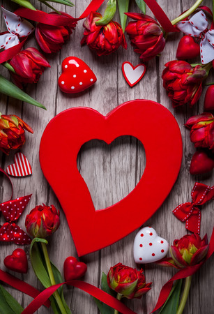 valentines background: Valentines Day background with chocolates, hearts and red tulips