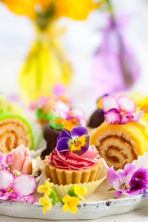 for tea: Assorted cakes and pastries for afternoon tea Stock Photo