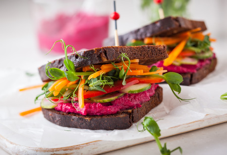 sprout: gluten free vegan sandwiches with beet hummus, raw vegetables and sprouts. soft focus