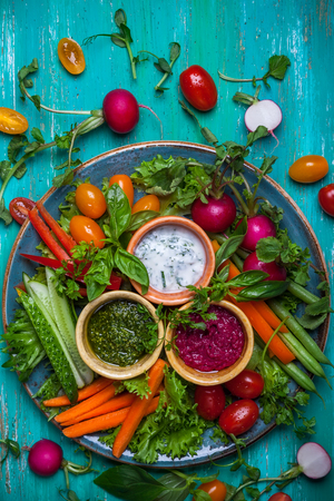 appetizers: Veggie crudite platter with three different dips