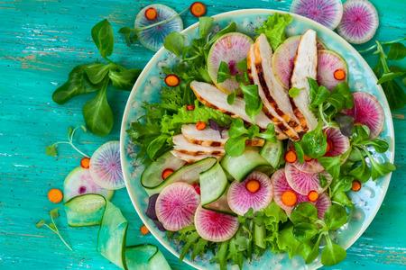 Gegrilde kip salade met komkommer en watermeloen radijs Stockfoto