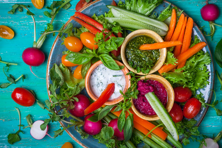 crudite: Veggie crudite platter with three different dips