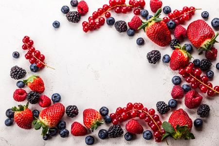 sweet background: Various fresh summer berries. Top view