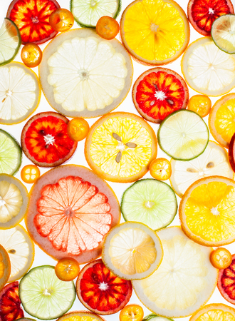citrus: Background of various citrus fruits  on the white