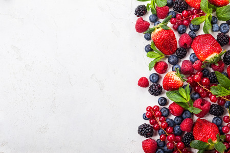 mixed fruits: Various fresh summer berries. Top view