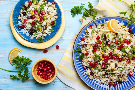 pine nut: Cauliflower couscous with dried cranberry, pomegranate, pistachio and pine nut