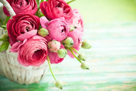 Boeket van roze ranunculus Stockfoto