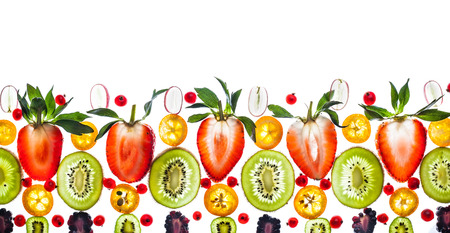 Fresh berry and fruit on white background. Transparent pattern