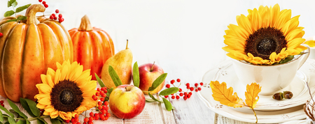 Autumn background with seasonal fruits,vegetables and flowers