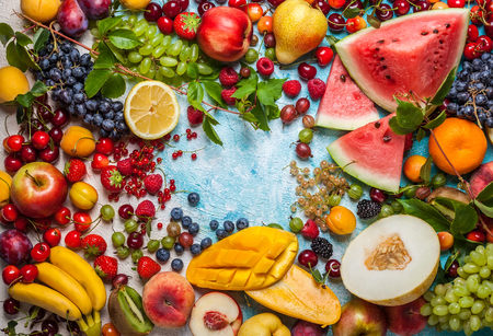 fruits juice: Still life of various fruits and berries . Top view Stock Photo