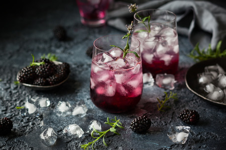 Blackberry Lemonade with lavender on a vintage  background