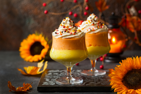 Candy corn parfait for Halloween Stock Photo