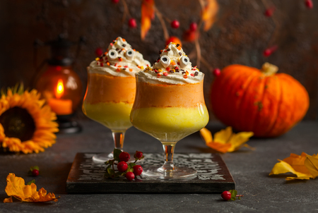 trifle: Candy corn parfait for Halloween Stock Photo