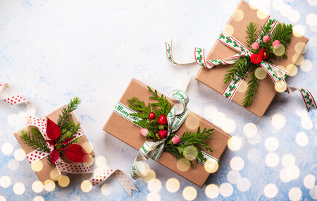 homemade: Christmas background with gift boxes and  decorations. Top view Stock Photo
