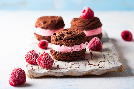 Homemade ice cream cookies sandwiches with raspberry and chocolate