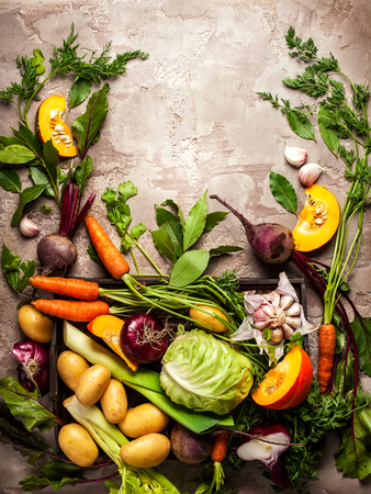 Variety of fresh raw vegetable ingredients for cooking of vegetable soup or stew. Autumn vegetable still life on rustic vintage background. Top view Banco de Imagens