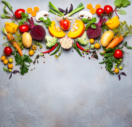 Concept of cooking healthy eating. Still life with fresh vegetables. Top view.