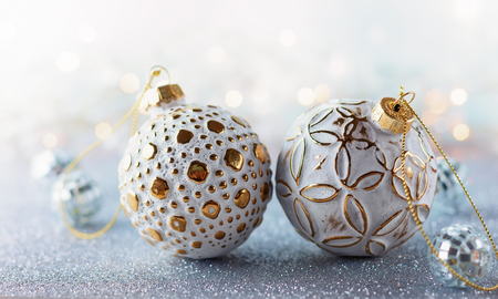 Christmas background with silver and gold vintage baubles Stock fotó