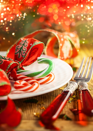 Christmas table setting with candy canes