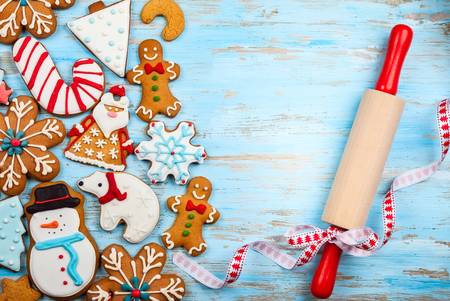 assorted homemade christmas cookies on a blue wooden background stock photo 88686379 - Homemade Christmas Cookies