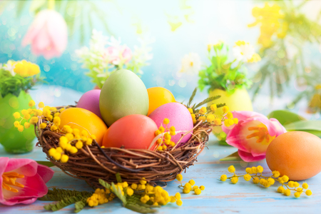 Easter decoration with  spring flowers and colorful dyed eggs in nest Banque d'images - 95365070