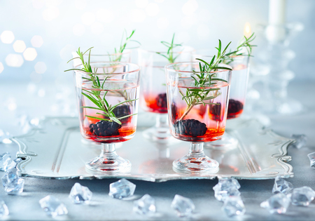 Winter berry cocktails made with blackberry liqueur and gin for Christmas or New Year. Served with fresh blackberry and rosemary on the silver tray. Stock Photo