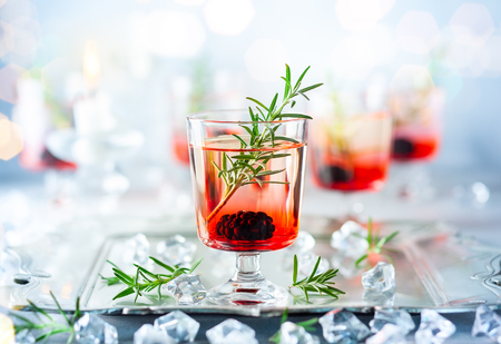 Winter berry cocktails made with blackberry liqueur and gin for Christmas or New Year. Served with fresh blackberry and rosemary on the silver tray. Reklamní fotografie