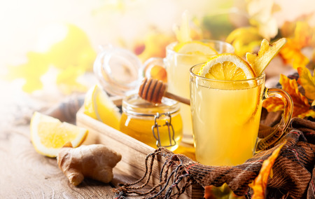 Lemon and ginger tea with honey. Spicy medicinal tea for autumn-winter season.
