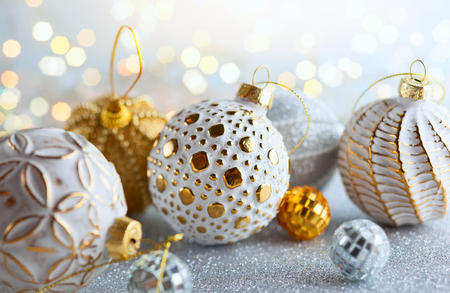 Christmas background with silver and gold vintage baubles Stok Fotoğraf