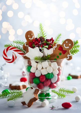 Christmas cookies, sweet candies,marshmallow in glass - perfect idea for Christmas  gift or decoration. Foto de archivo