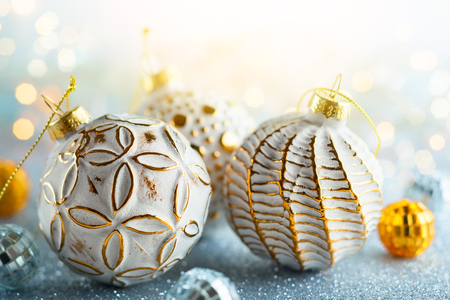 Christmas background with silver and gold vintage baubles Stock Photo