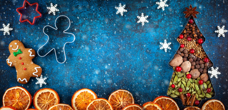 Winter concept with Christmas cookies and spices on blue background. Top view with copy space.