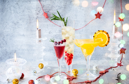 Festive cocktails for holiday on the silver tray Stock Photo