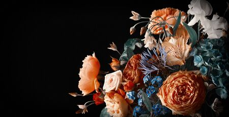 Beautiful bunch of colorful flowers on black  in vintage style.  Festive flowers concept with copy space.