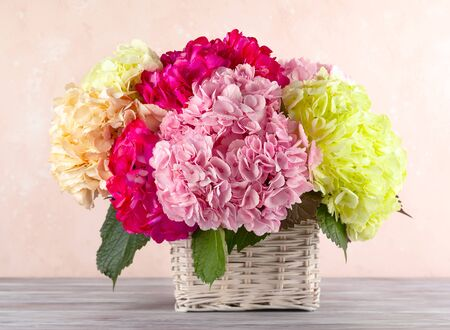 Bouquet of beautiful hydrangea in basket on the wooden table. Colorful flowers hortensia.