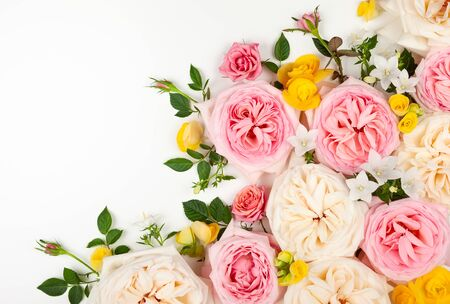 Beautiful fresh  flowers on white background. Festive floral background. Top view with copy space. Imagens