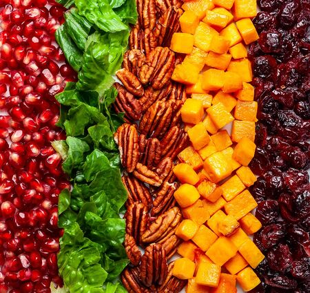 Autumn-winter season salad with roasted pumpkin, dried cranberry, pecan and pomegranate seeds.A Great choice for Thanksgiving, Christmas, New Year's Eve or any other winter holiday menu. Healthy eating concept. Top view with copy space.