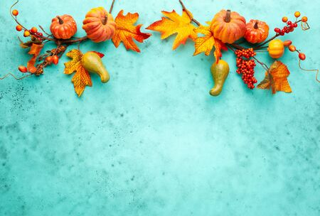 Autumn concept with pumpkins, flowers, autumn leaves and rowan berries on a turquoise