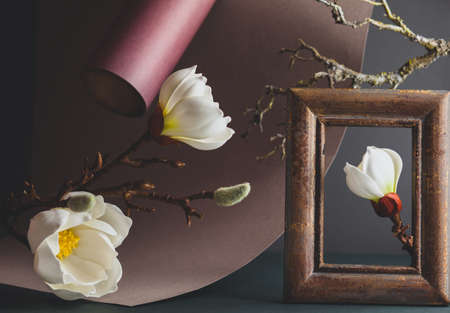 Creative still life with white magnolia, paper, vintage frame and dried branch of tree on dark background. Trendy nature concept.