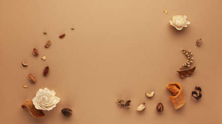 Autumn composition with dried flowers, leaves and berries on light brown background. Flat lay copy space.