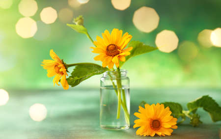 Beautiful yellow flowers in glass small bottle on green background with festive bokeh. Autumn Floral Bouquet in home interior.