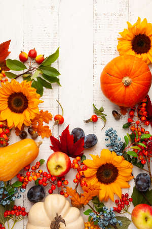 Autumn composition with pumpkins, fruits, sunflowers, leaves and berries on white wooden table. Flat lay, copy space. Concept of fall harvest or Thanksgiving day. Imagens
