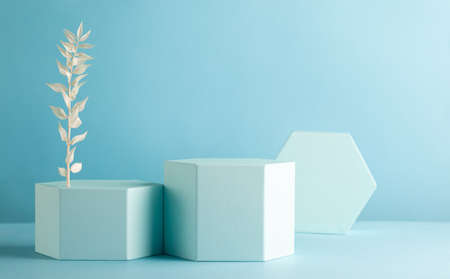 Abstract background with hexagon shape podiums for products presentation or exhibitions. Composition of different geometric objects with copy space.