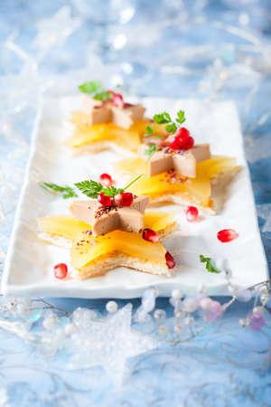 Foie gras and orange aspic on star-shaped toasts 免版税图像
