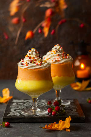 Candy corn parfait for Halloween 免版税图像