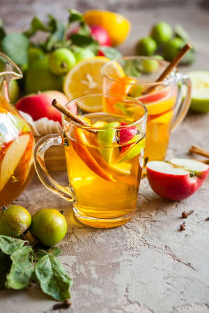 Sangria with apples, citrus and spices