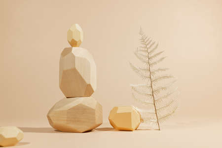 Composition of geometric wooden balancing stones with plant. Concept of balance, eco frendly. Pastel background with copy space. 免版税图像