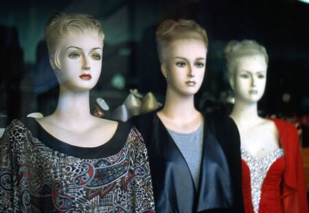 metaphysics: mannequins in an old shop 50s